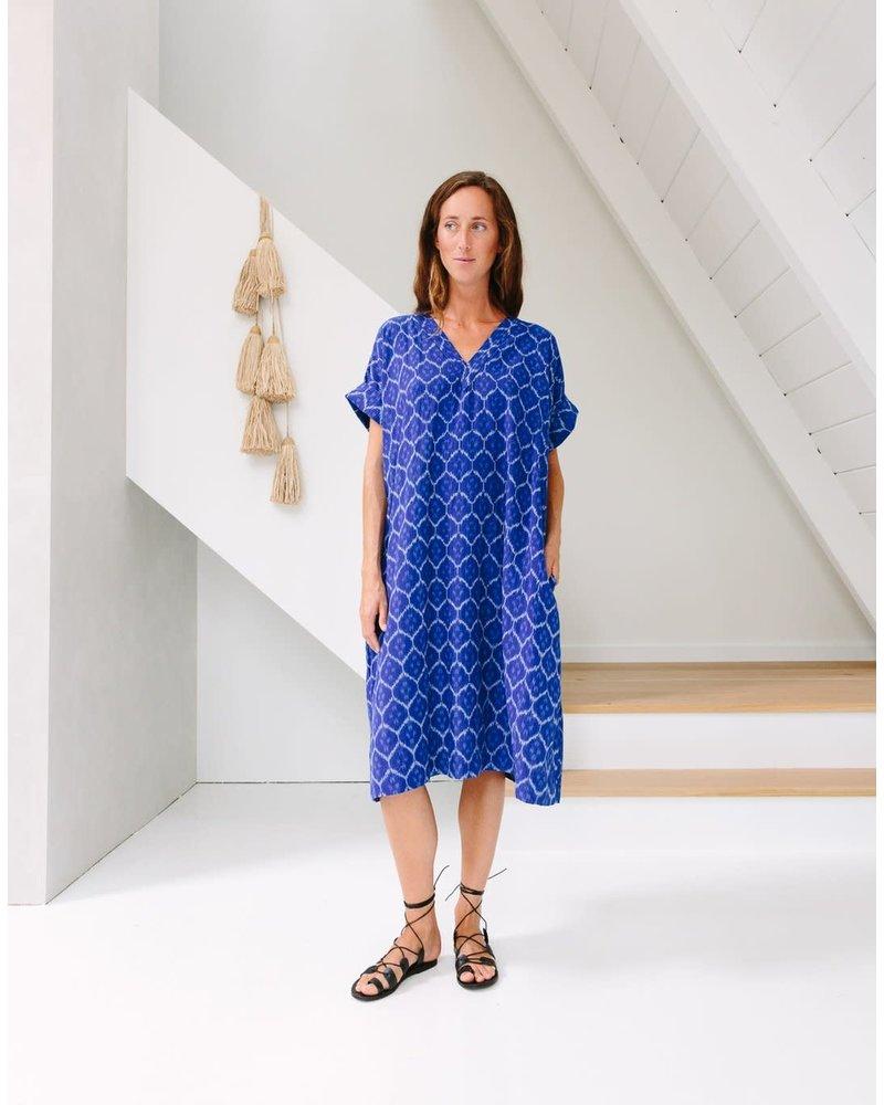 Rupali Ikat Dress- Turkish Blue- One Size