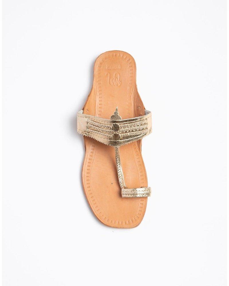 Koli Flat Sandal- Gold