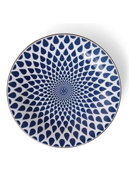 """Plate 11"""" Blue & White Rain"""