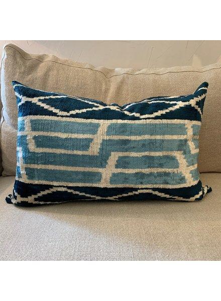 Velvet Marine & Light Blue Ethnic Lumbar