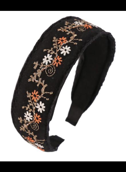 Embroidered Flower Headband- Black