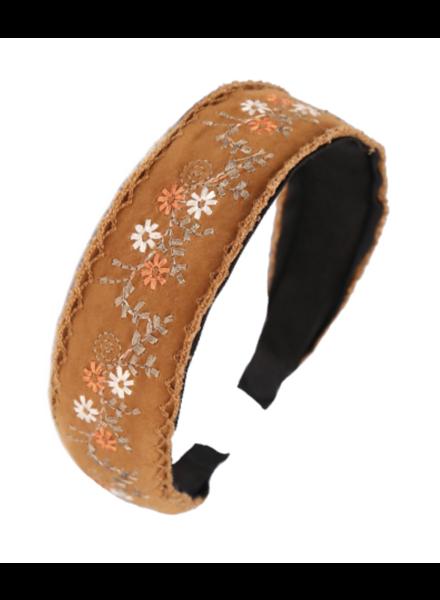 Embroidered Flower Headband- Camel