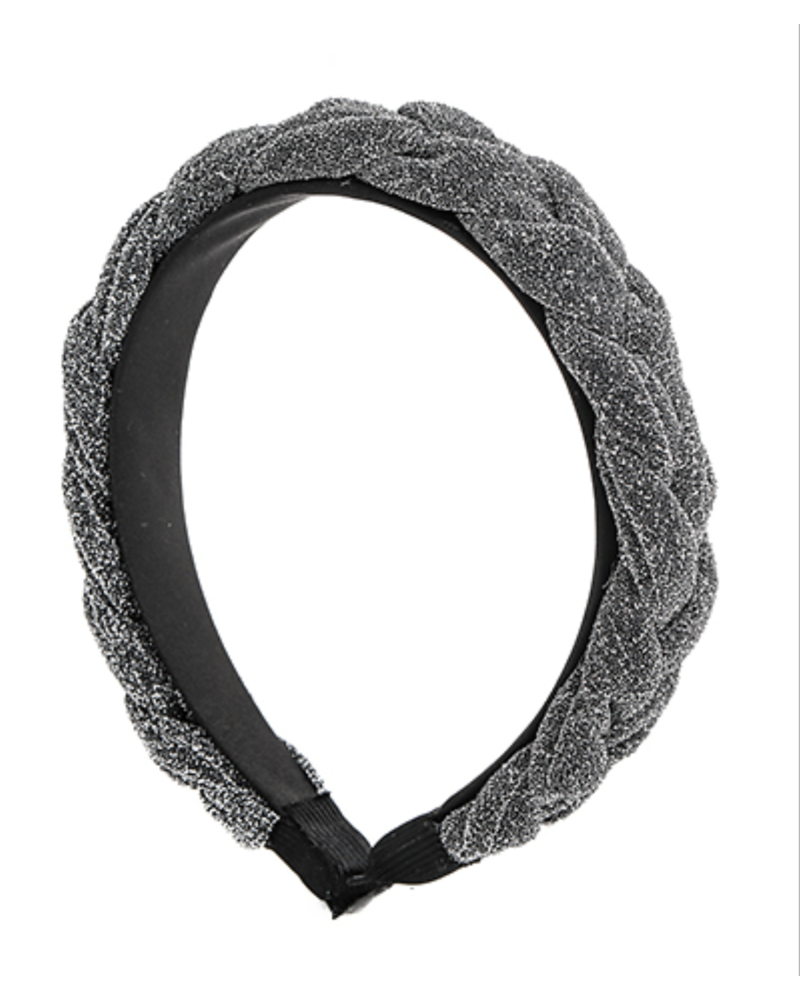 Braided Glittery Headband- Gray