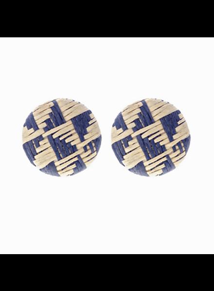 Raffia Woven Disc Earrings- Blue