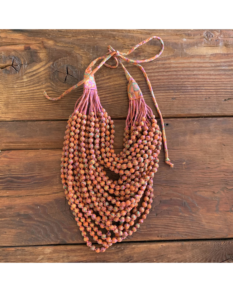 22 Strands Silk Beads- Orange