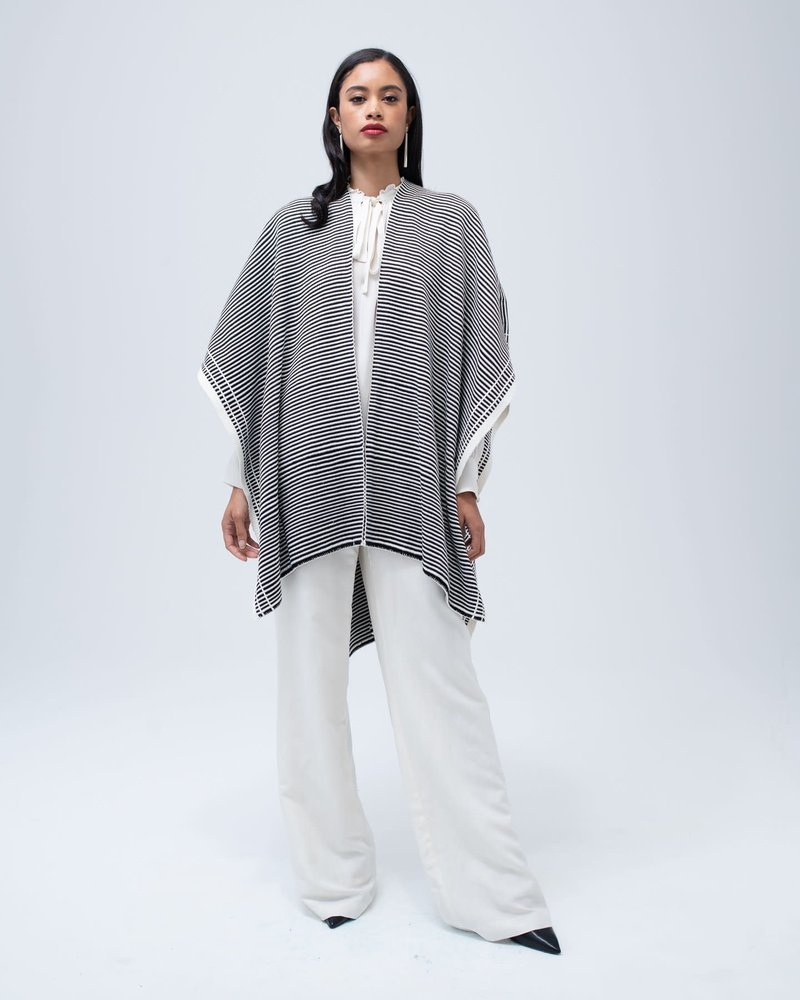 Ivory/Black Cotton Stripe Duster