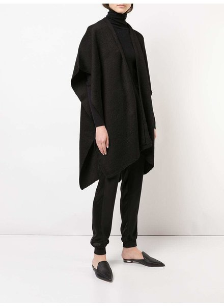 Hand-Loomed Cotton Short Duster- Black