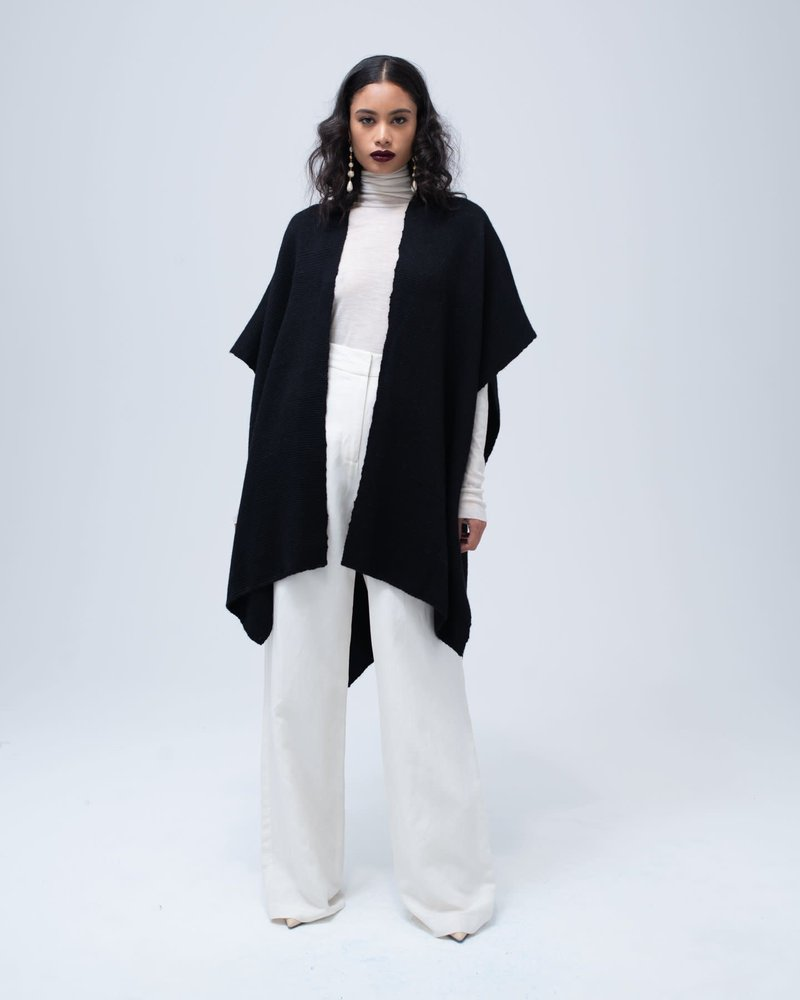 Baby Alpaca Short Duster- Black