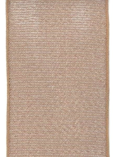 "Linen Mesh, Taupe & Silver 5"" x 10 Yards"