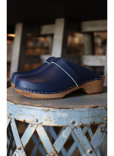 Blue Leather Clogs