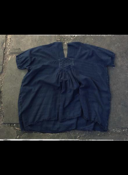 Handmade Indigo V-Neck Top- One Size