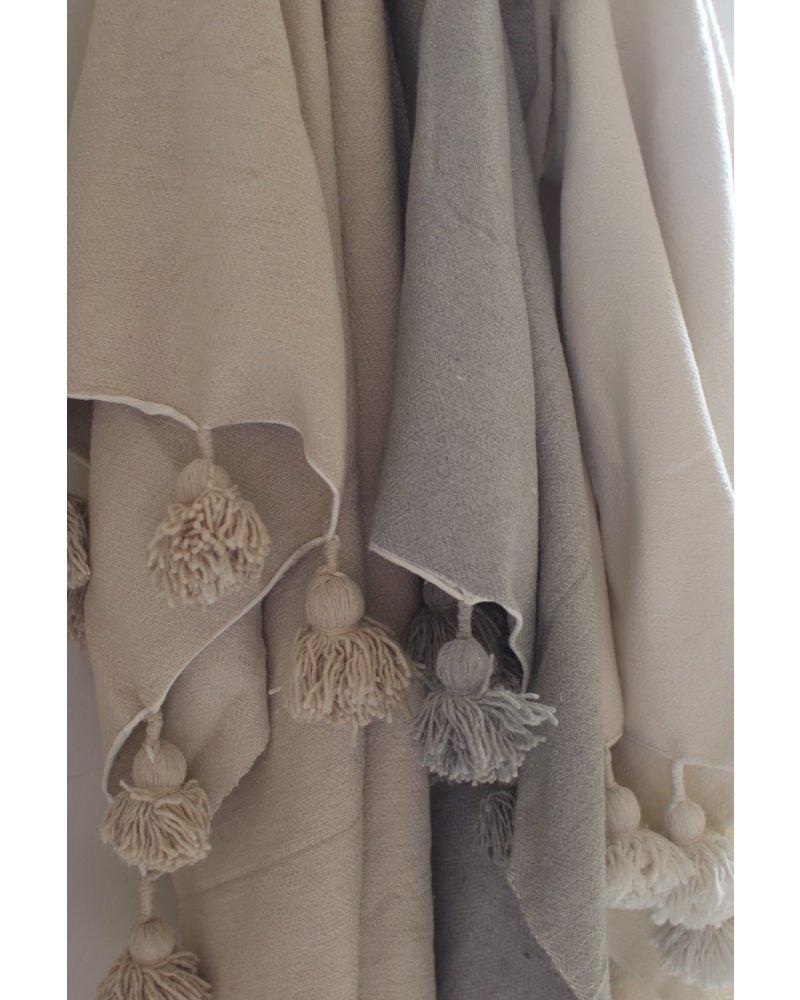 Moroccan Blanket- SINGLE- Natural