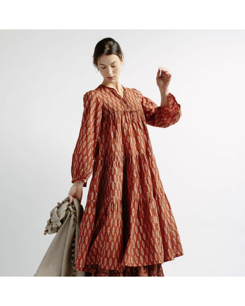 Yamini Rust Ikat Dress