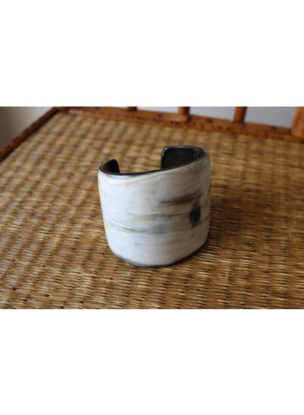 Black Creamy Horn Tapered Cuff