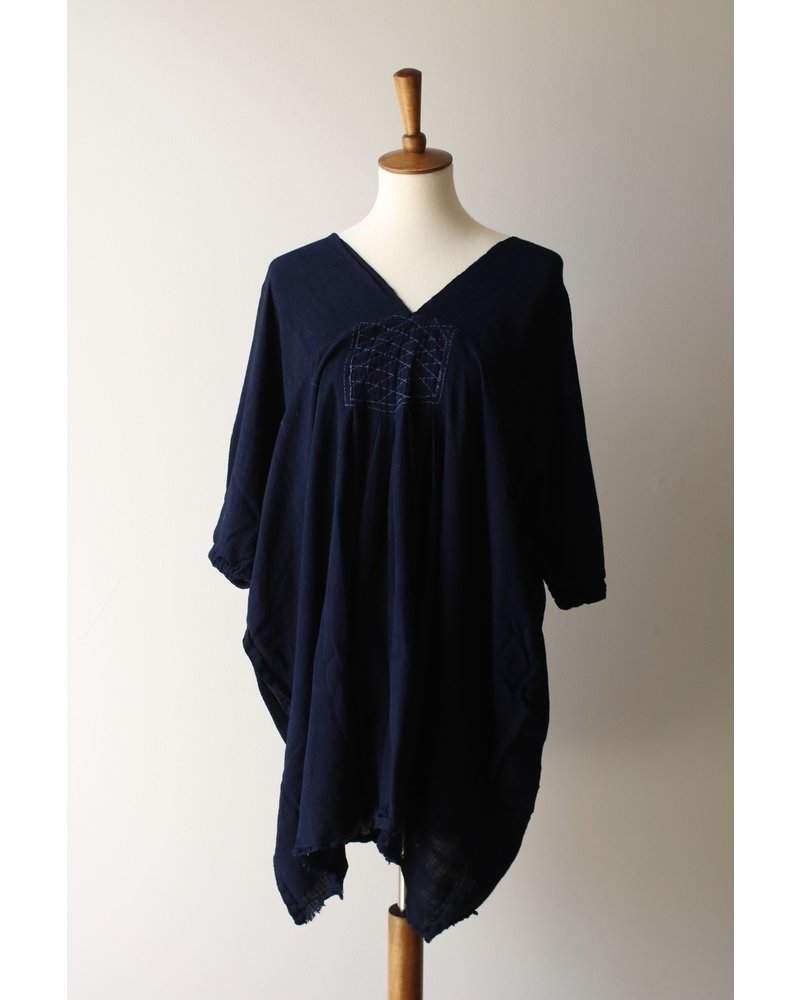 Handmade Indigo V-Neck Top- One Size