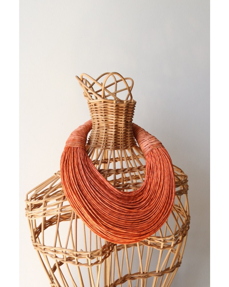 Leather Strands Collar- Orange