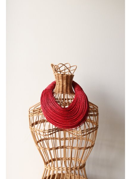 Leather Strands Collar- Red