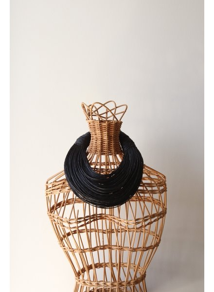 Leather Strands Collar- Navy