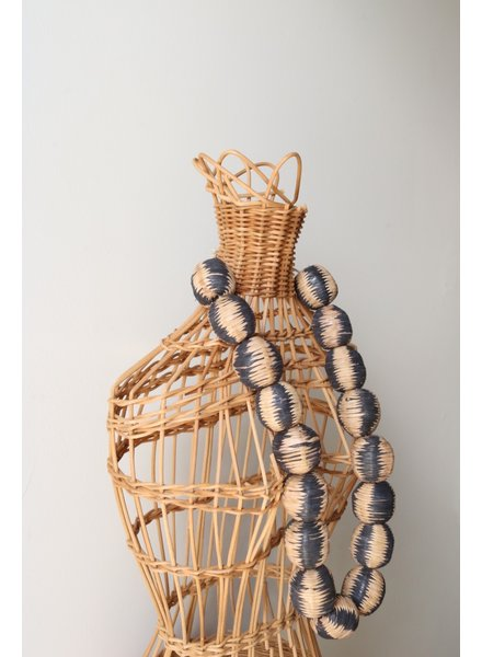 Giant Leather Beads- Sand + Navy