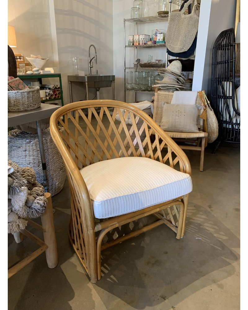 Vintage X Rattan Chair, low with white textured cushion
