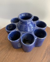 Moroccan Candle Stick Holder- Large Cobalt, Round