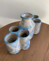 Moroccan Candle Stick Holder- Large Cream + Blue