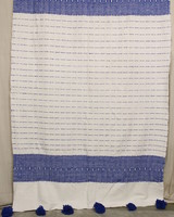 #6, White + Blue, Pattern, Wool- Large