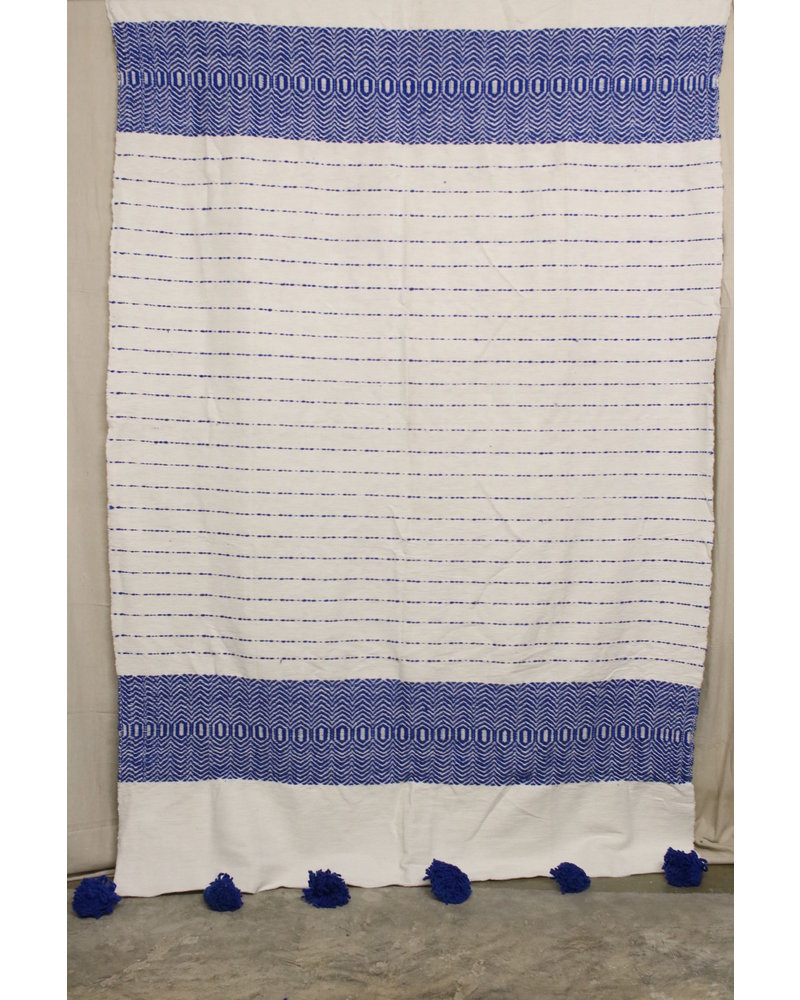 #6, White + Blue, Pattern, Wool- Large