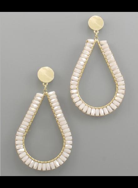 Ivory + Worn Gold Drop Earrings