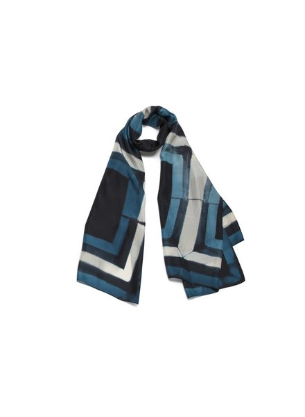 Door 100% Silk Scarf- Blue & Black