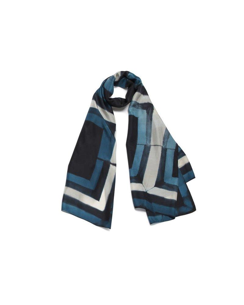 Door 100% Silk Scarf- Blue & Black