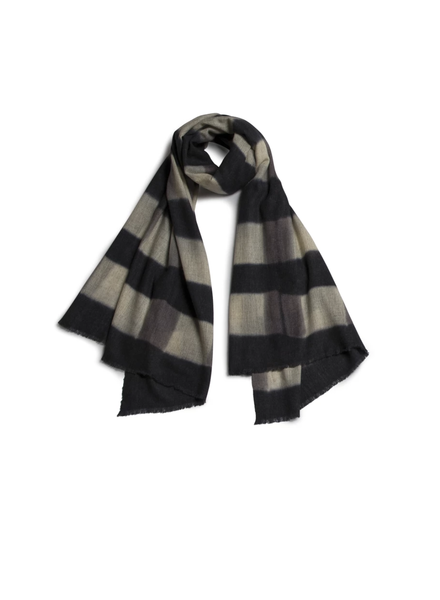 Quadrillage Wool Scarf- Grey & Black
