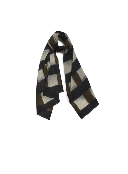 Quadrillage Wool Scarf- Khaki & Black