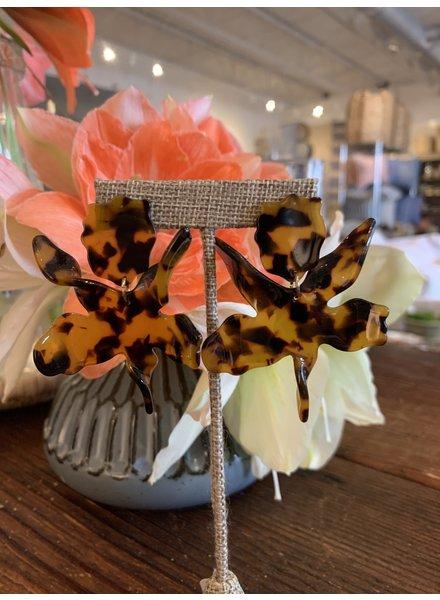 Wavy Flower Earrings- Tortoise