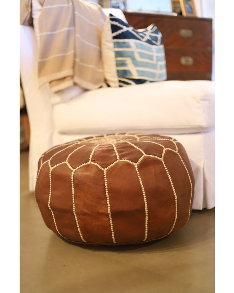 Leather Pouf- Brown