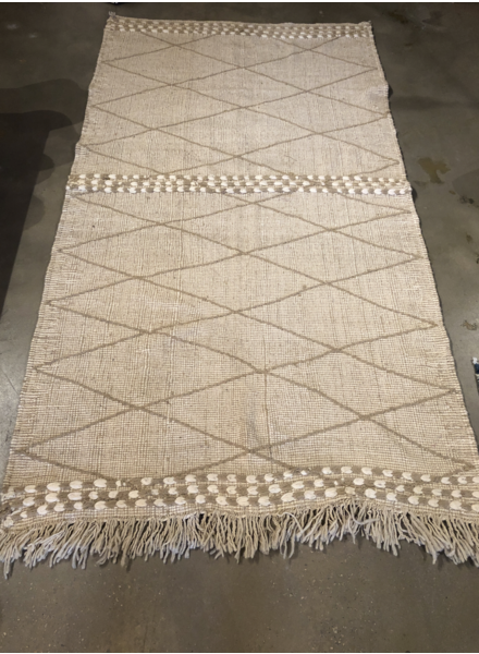 "Moroccan Wool Rug- Natural- 4'10"" x 9'"