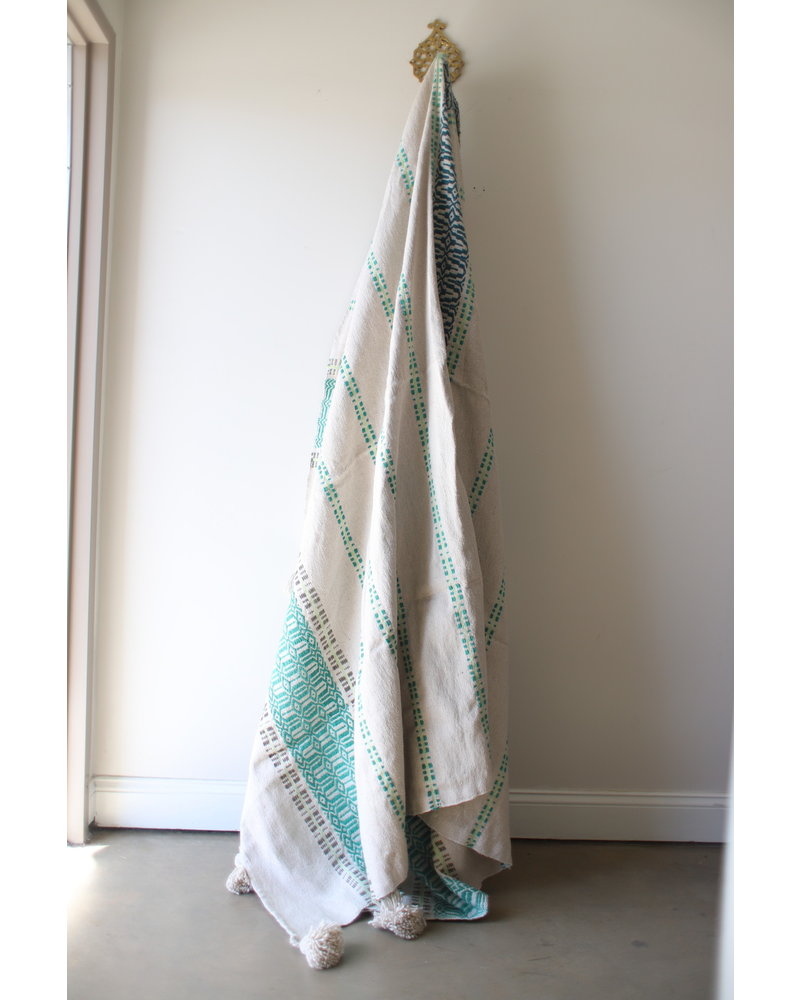 Large Patterned Cotton Blanket- Lime & Aqua