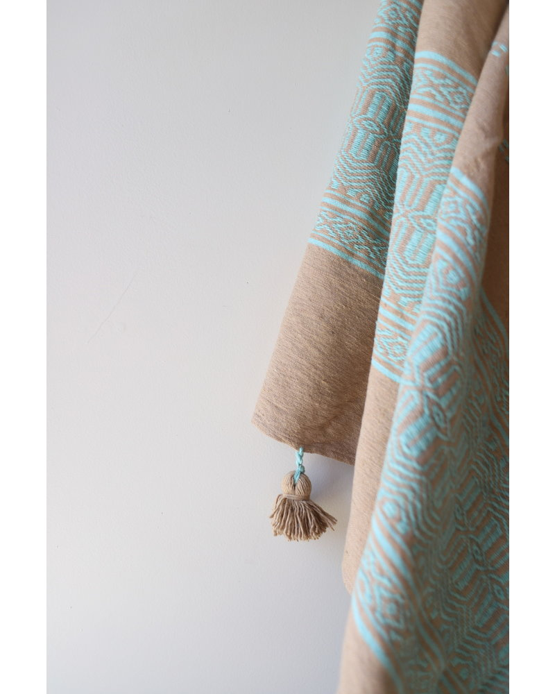 Large Patterned Cotton Blanket- Tan & Aqua