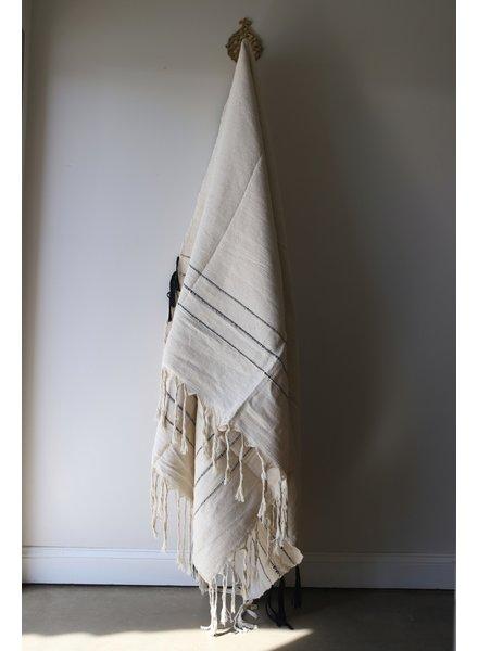 Medium Cotton Blanket #2- Sailcloth & Black Stripe