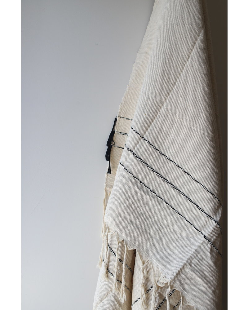 Medium Cotton Blanket #2- Sailcloth & Black Stripe