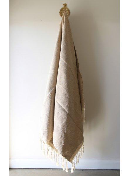 Medium Cotton Blanket #3- Coconut Tweed