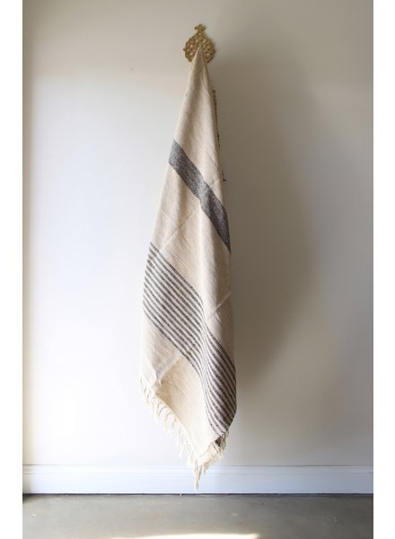 Medium Blanket #5- Coconut + Black Stripe