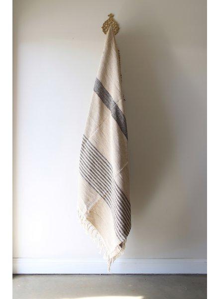 Medium Blanket #5- Coconut + Black Stripe