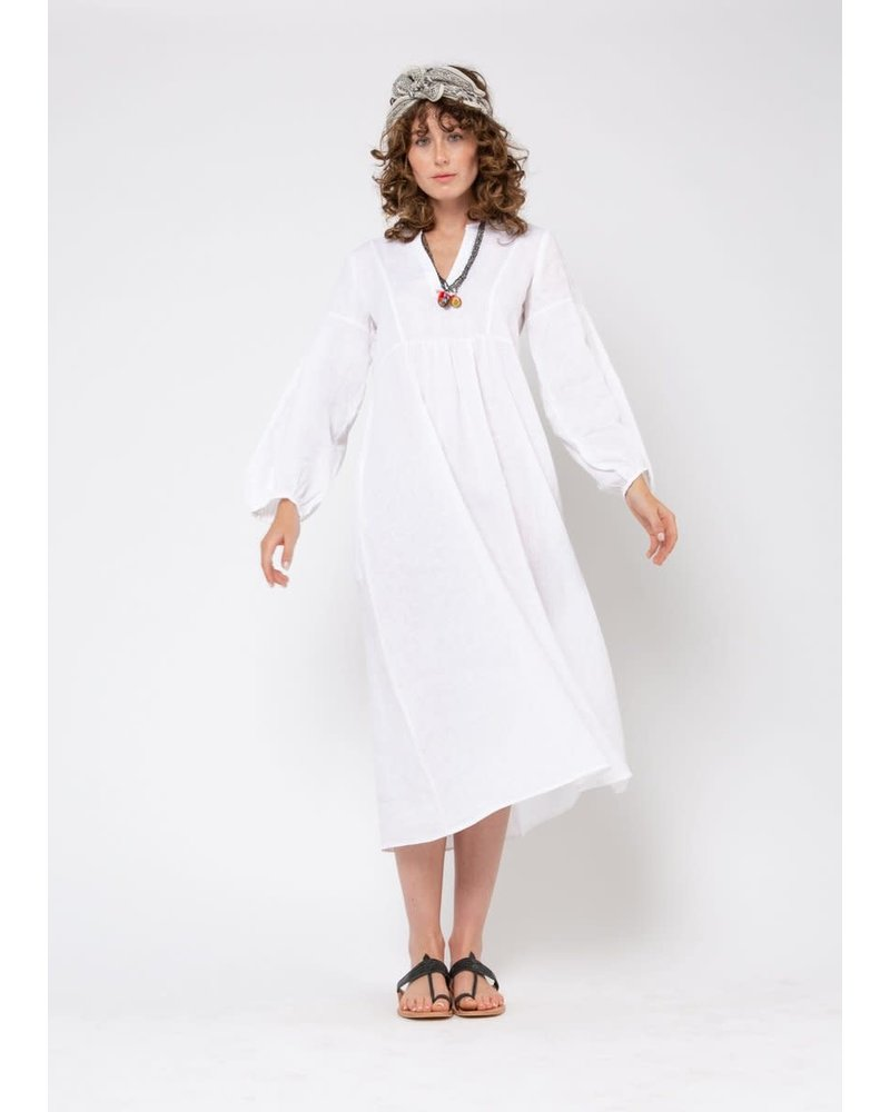 Martina Linen Dress- White