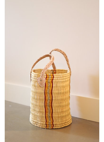 New Palm Round Basket- Large- Stripe