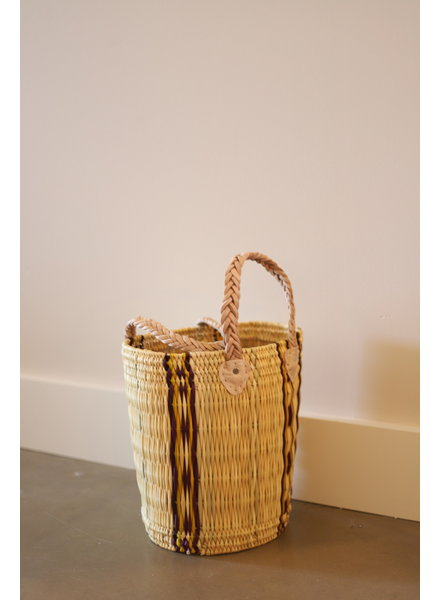 New Palm Round Basket- Medium- Stripe #1