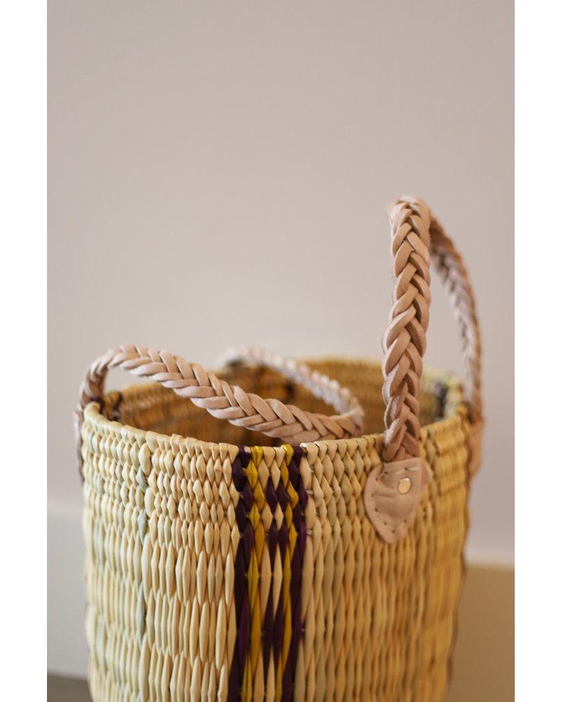 New Palm Round Basket- Medium- Stripe #1