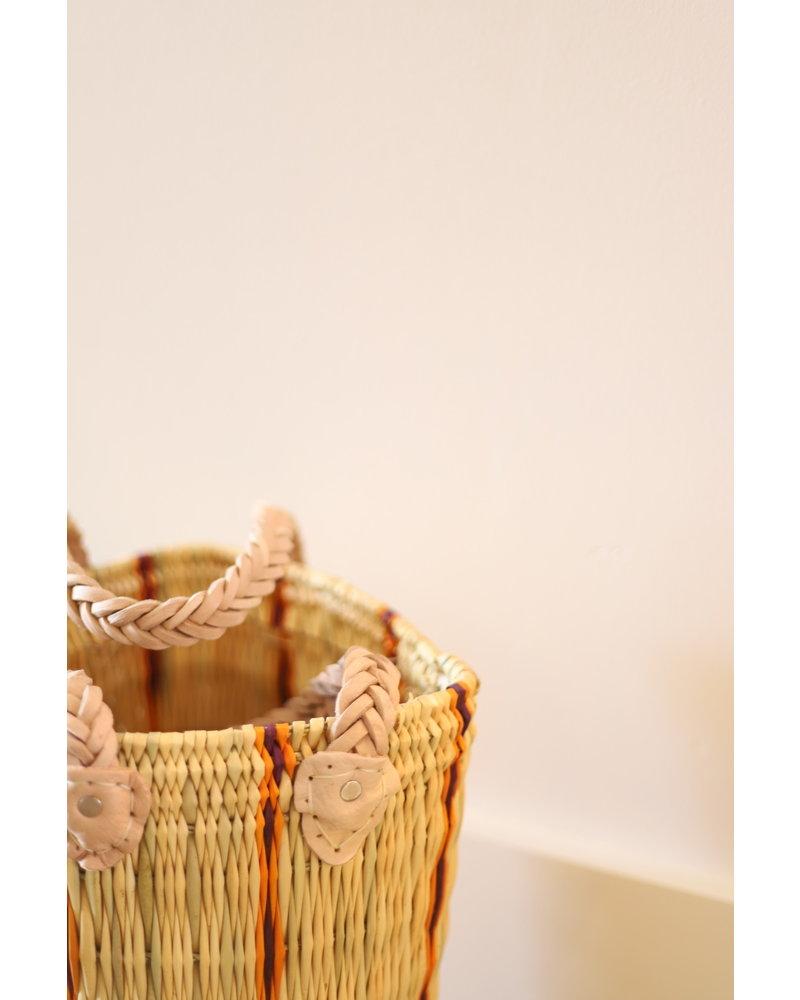 New Palm Round Basket- Medium- Stripe #2