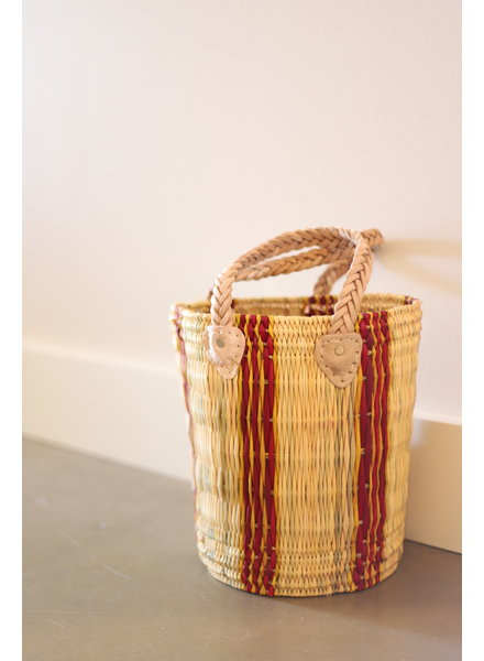 New Palm Round Basket- Medium- Stripe #4