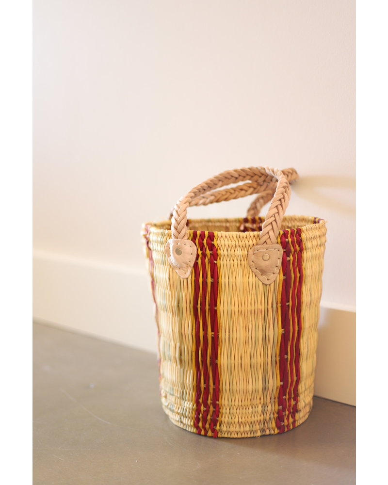 New Palm Round Basket- Medium- Stripe #4